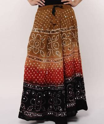 Multicolor Bandhej Cotton Skirt