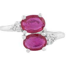 Buy Allure Jewellery 925 Sterling Silver Ring studded with Natural Ruby Meena gemstone-ring online