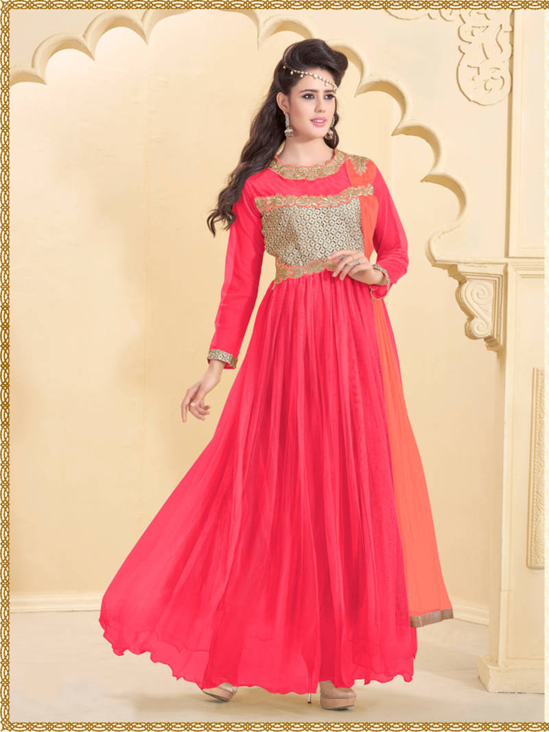 Pink embroidered net semi stitched party-wear-gowns - 24KARATONLINE ... 7ef096b35