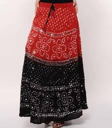 Stunning Red Black Bandhej Skirt