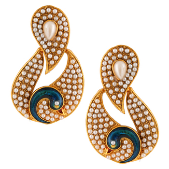White Colour stones with peacock antique golden India ADIVA pearl stud earring