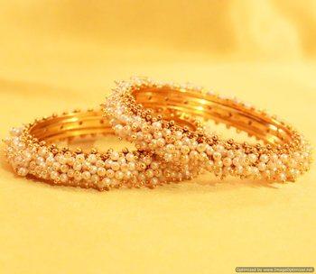 Elegant Pearl Gold Look Bangles