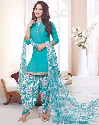 Sky Blue printed crepe unstitched salwar with dupatta