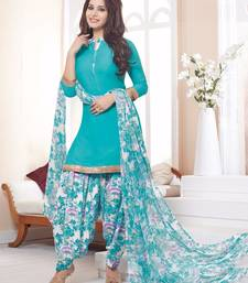 Buy Sky Blue printed crepe unstitched salwar with dupatta women-ethnic-wear online