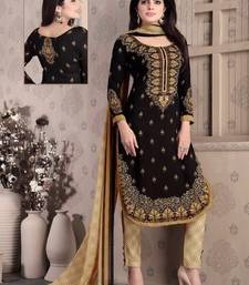 Buy Black printed crepe unstitched salwar with dupatta salwar-kameez-below-500 online