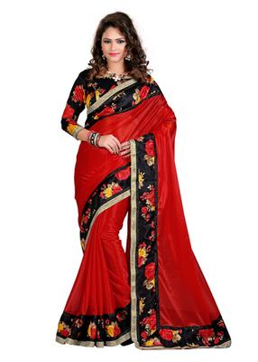 1363e70dee Red plain net saree with blouse - Manjula Feb - 893944
