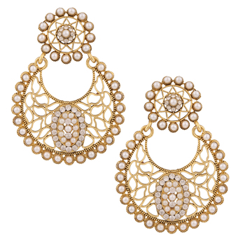 Pearl flower cut leaf work pearl polki dangler earrings India jewellery