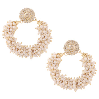 Chandni pearls hoop bali type circle stones stud India earring