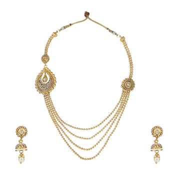 Ethnic Indian Bollywood Fashion Jewelry Set Golden Necklace SetPRNE0021WH