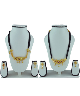 Womens Trends Combo Pack of Two Traditional, Ethnic and Antique Gold Plated Mangalsutra and Earrings Set