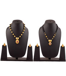 Womens Trends Combo Pack Of Two Traditional, Ethnic And Antique Gold Plated Necklace & Mangalsutra And Earrings Set