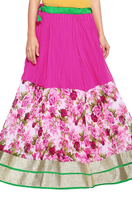 Pink Georgette Crush Skirt with Lace Border