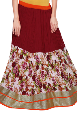 Maroon Georgette Crush Flower Print Skirt