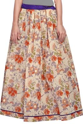 Beige Cotton Chanderi Printed Skirt