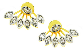 Flower Pearl American Diamond CZ  Gold Plated Ear Cuff Pair Earring for Women