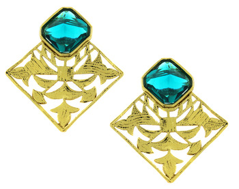 Gold Plated Sea Green Stone Filigree Stud Earring for Women