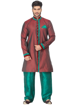 Red  Indo Western Kurta Set With Velvet Colllar And Full Panel Patti And Buttons