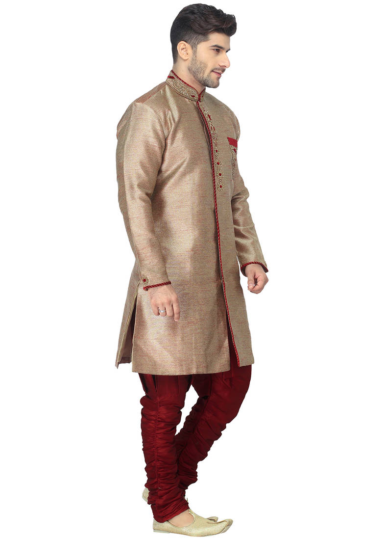 Buy Marron Indo Western Kurta Set With Hand Embroided