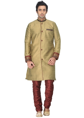 Beige Indowestern Kurta Set With Fancy Buttons And Lace Work At Sleeve