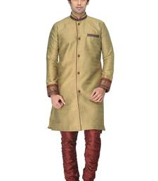 Buy beige indowestern kurta set with fancy buttons and lace work at sleeve indo-western-dress online