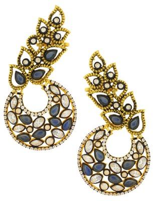 Designer Flower Kundan Sapphire Blue Gold Plated Chaand Bali Ear Cuff Earring for Women