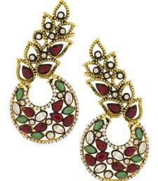 Designer Flower Kundan Red Green Gold Plated Chaand Bali Ear Cuff Earring for Women