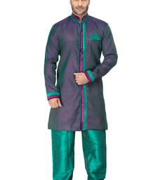 Buy green indo western kurta set with velvet colllar and full panel patti and buttons indo-western-dress online