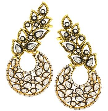Designer Flower Kundan Polki Gold Plated Chaand Bali Ear Cuff Earring for Women