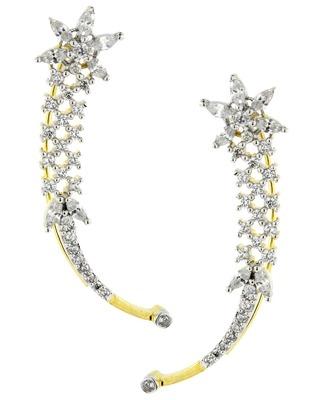 Marquise Flower American Diamond CZ Gold Rhodium Plated Ear Cuff Pair Earring for Women