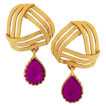 Filigree Flower Gold Plated American Diamond CZ Purple Dangling Earring for Women