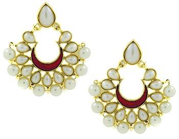 Chaand Bali Maroon  Enamel Meenakari Gold Plated Pearl Jhumki Earring for Women