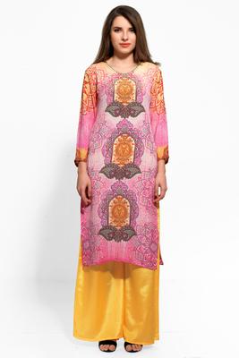 Pink crepe digital print kurti
