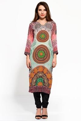 multicolor crepe digital print long kurti