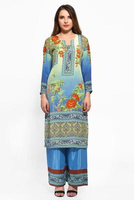 Blue crepe digital printed kurti