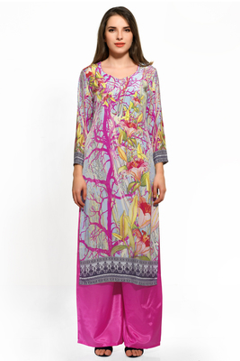 Sky blue and pink crepe printed kurti