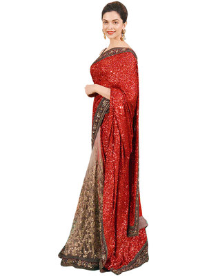 Designer sraee red chiffon and net saree with blouse