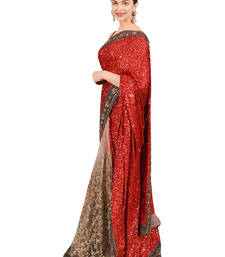 Buy Designer sraee red chiffon and net saree with blouse women-ethnic-wear online