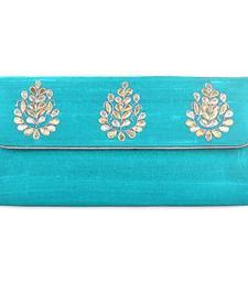 Buy Adorable Firoza Blue Gota Patti Clutch eid-bag online
