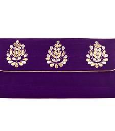 Buy Wonderful Dark Purple Gota Patti Clutch clutch online