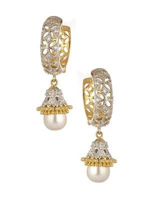 Beautiful Ad pearl studded Hoop earrings