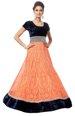 Blue and Orange net embroidered Anarkali SUit