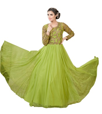 Olive Green Net Embroidered Anarkali Suit