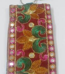 Buy Mirror work, multi colored flower mobile cover clutch online