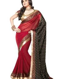 Buy Maroon and Black Color Faux Georgette and Viscose Saree with Blouse georgette-saree online