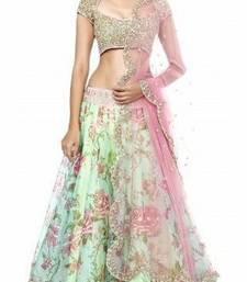 Buy multicolor embroidered net unstitched bridal-lehengas lehenga-below-1000 online