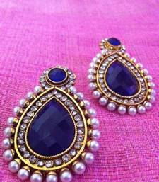 Buy Bold Blue stone charming pearl polki earring c286b gifts-for-girlfriend online