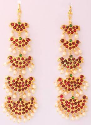 Beautiful Gold Plated Kemp Green Step Earrings