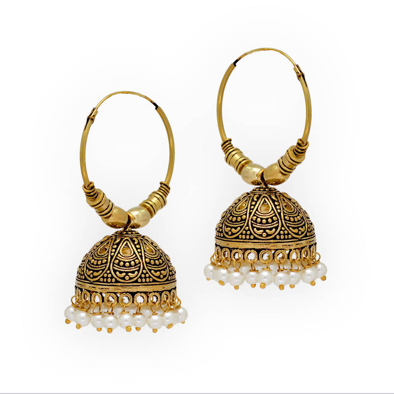 Jaipur Oxidised Black Metal Gold Plated Bali Jumki Style Earrings