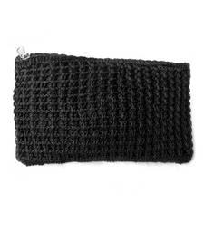 Buy Crochet Clutch in Black handbag online
