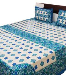 Buy Abstract Pattern Sanganeri Print Cotton Double Bed Sheet bed-sheet online